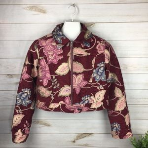 Women's forever 21 maroon floral cropped jacket
